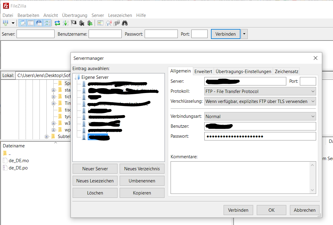 filezilla servermanager